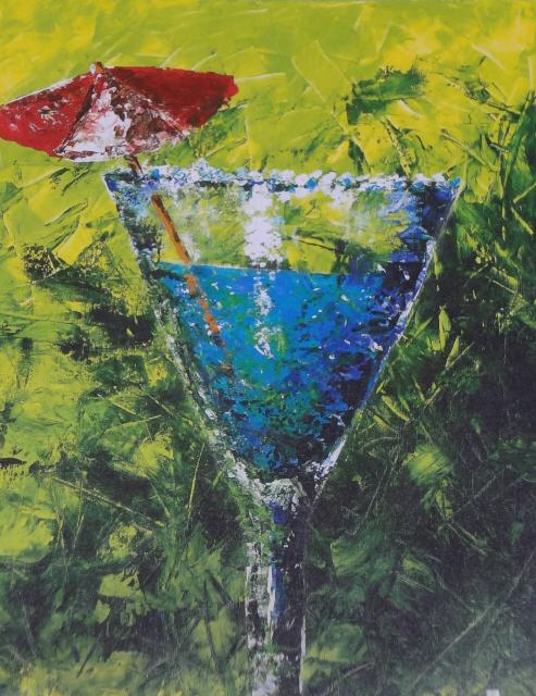 Cocktail; 70 x 100 cm; Öl-Spachtel